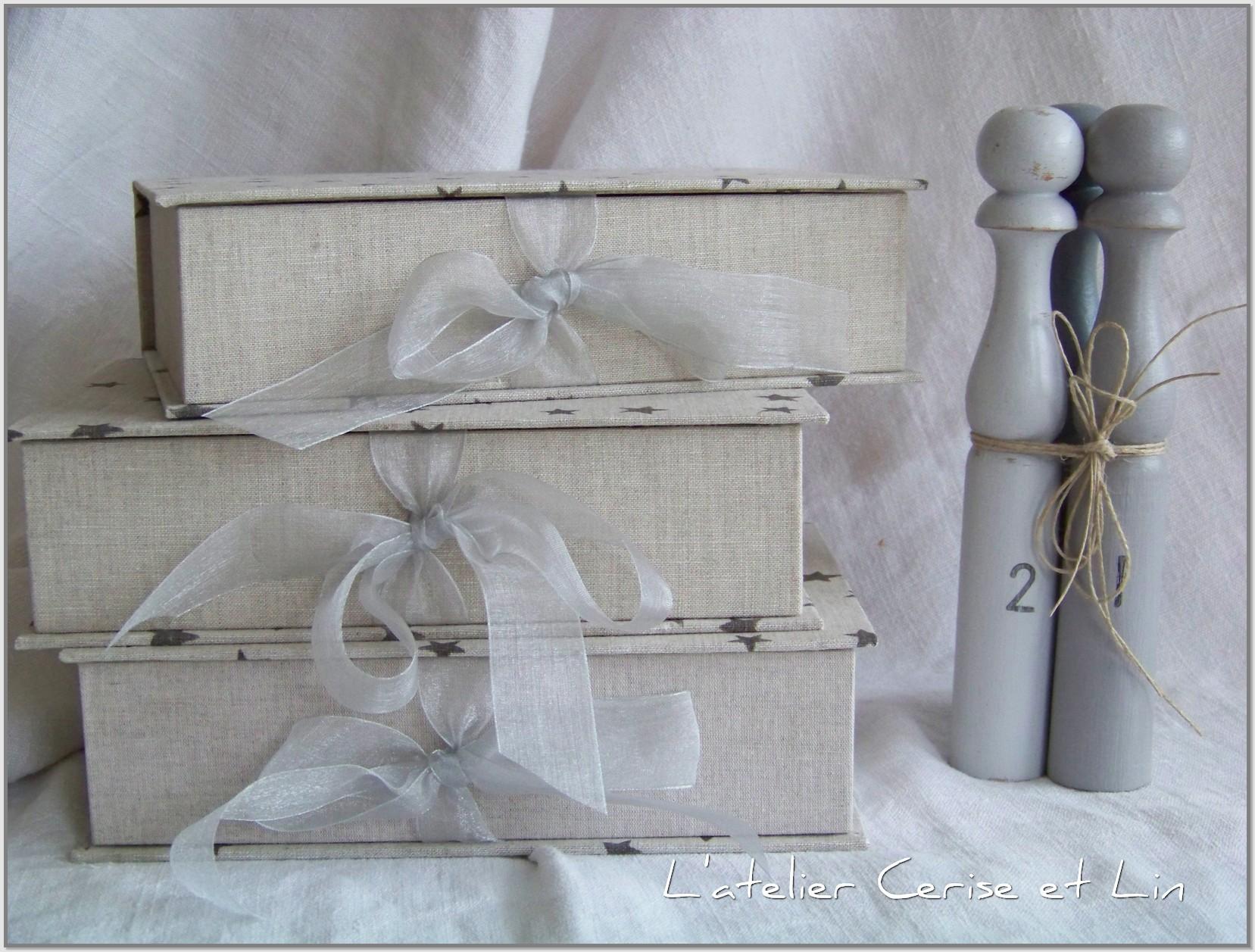 Boîtes étoilées en lin 006